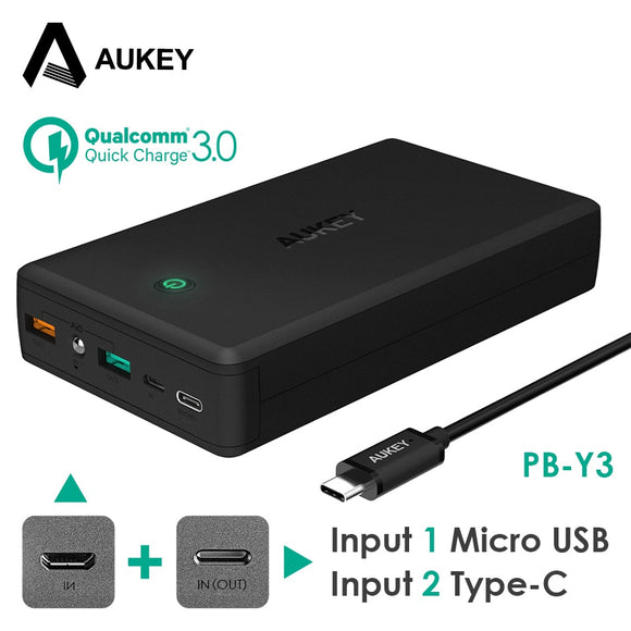 AUKEY 30000mAh Power Bank Portable Charger Quick Charge 3.0 External Battery Pack