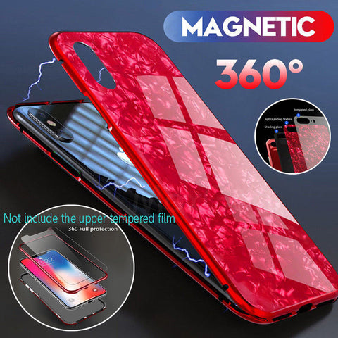 Magnetic Adsorption Protection Case for iPhone 6 7 8 X + Temper Glass Case Cover