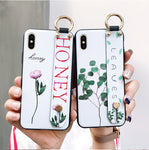 Fashion Flower Lanyard  Stand Phone Case