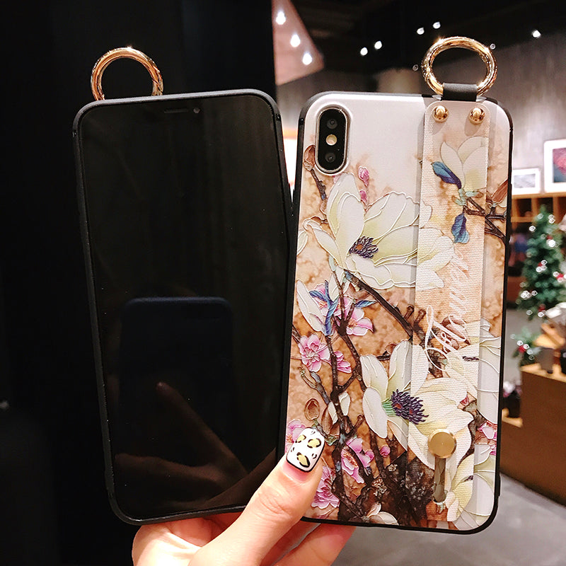 iphone 6 6s 7 8 plus Flower Pattern Phone Holder Case