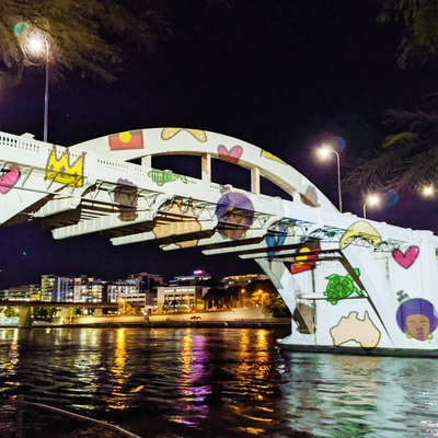 Bridge becomes canvas in Brisbane