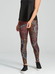 woMen's leggings with a unique and vibrant Aboriginal dot pattern.