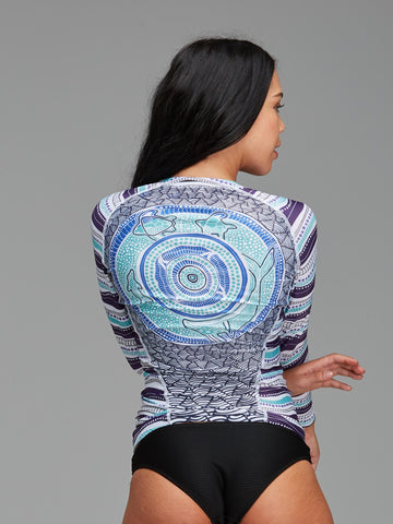 Blue and green patterned womens rashie, featuring an authentic Indigenous design by Lara Went.