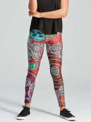 Vibrant and colourful leggings with a storytelling Aboriginal design