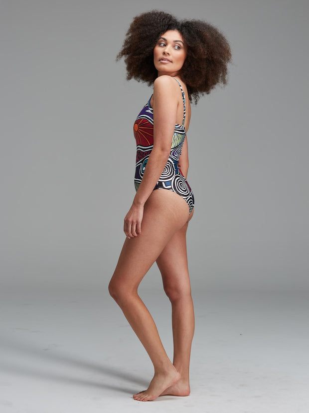 Australian made and designed vibrant women's swimsuit, featuring a printed Indigenous artwork.