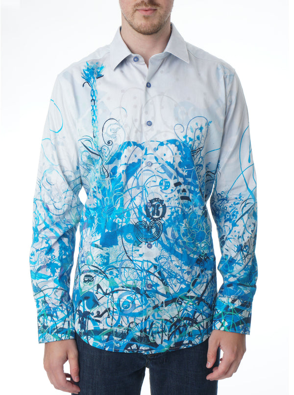MINDSCAPE BLUES EMBROIDERED SPORT SHIRT BIG