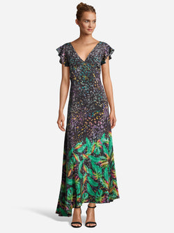 LEIGHTON LEOPARD BOTANICAL PRINTED SILK DRESS