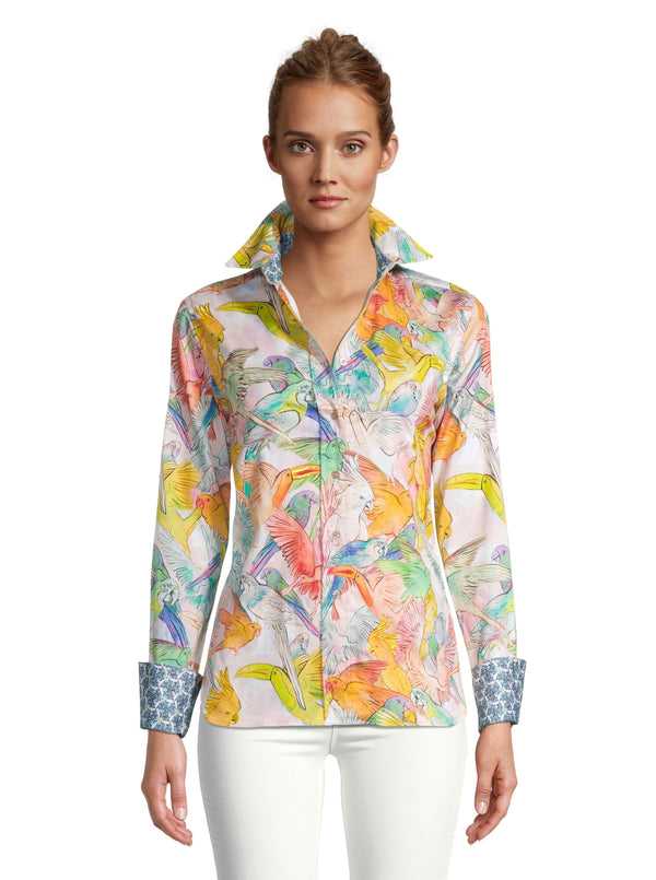 PRISCILLA TROPICAL BIRDS PRINTED SHIRT