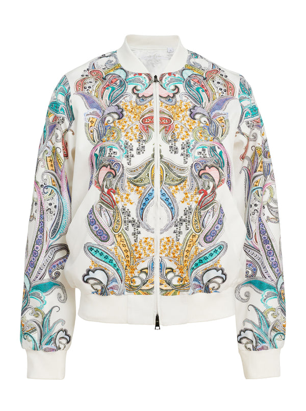 MEREDITH PLACED PAISLEY SILK BOMBER