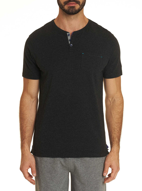 HENLEY TEE - Heather Black
