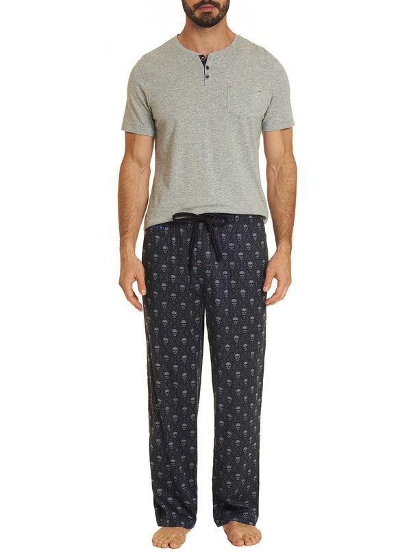 PJ SKULL MOTIF LOUNGE SET- Grey