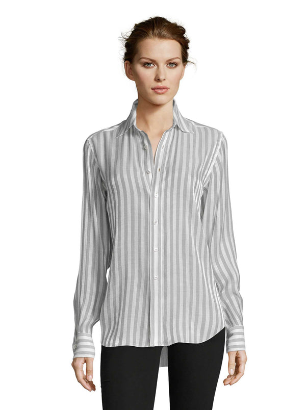 CARRIE METALLIC VOILE STRIPE SHIRT