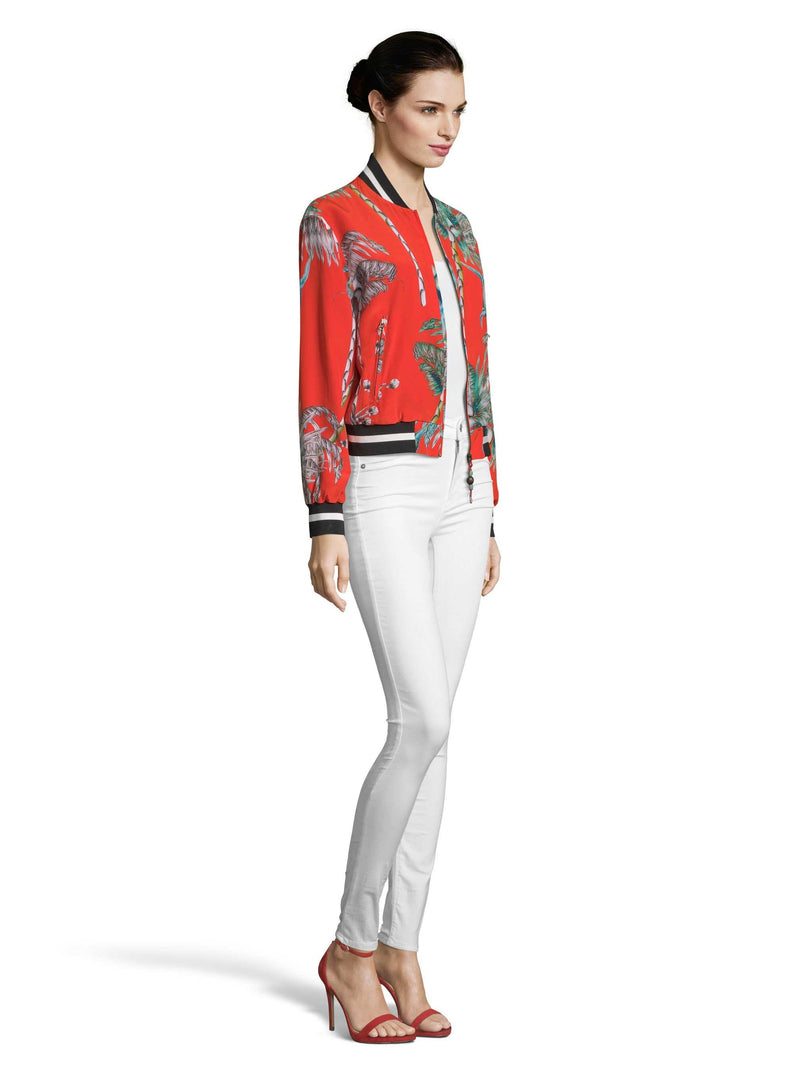 MEREDITH PRINTED MONKEY BOTANICAL SILK BOMBER JACKET