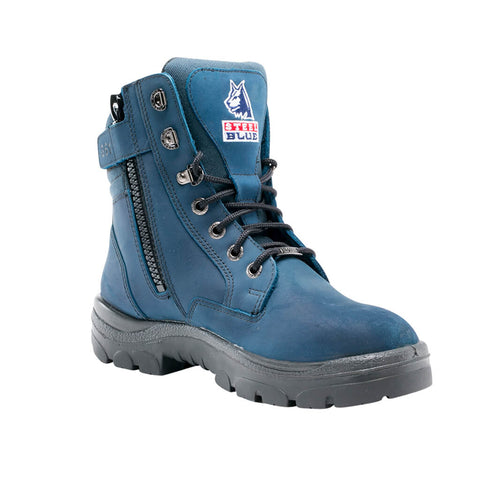312361 Steel Blue Southern Cross Zip Sided Lace Up Steel Toe - Safety Boot
