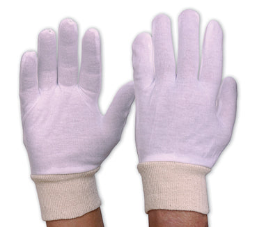 342CLKW Cotton Gloves Interlock Poly/Cotton Liner Knitted Wrist Mens
