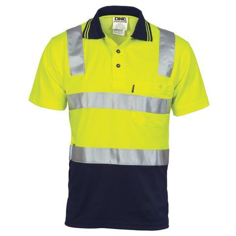 3817 185gsm Cotton Back Hi VIs Two Tone Polo Shirts With 3M8906 R/Tape Short Sleeve