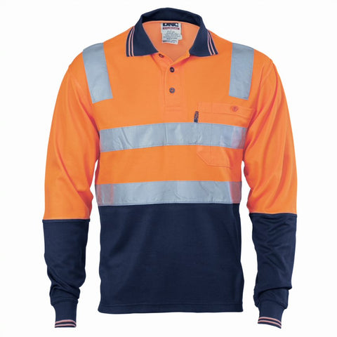 3818 185gsm Cotton Back Hi VIs Two Tone Polo Shirts With 3M8906 R/Tape Long Sleeve
