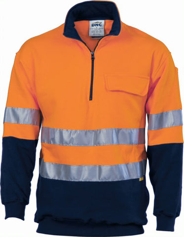 3925 DNC 300gsm Hi Vis Two Tone 1/2 Zip Cotton Fleecy Wincheater With 3M8906 R/Tape