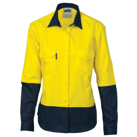 3940 155gsm Ladies Hi VIs Two Tone Cool - Breeze Cotton Drill Shirt Long Sleeve
