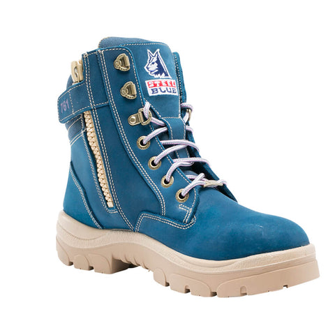 512761 Steel Blue Southern Cross Ladies Zip Sided Lace Up Steel Toe - Safety Boot