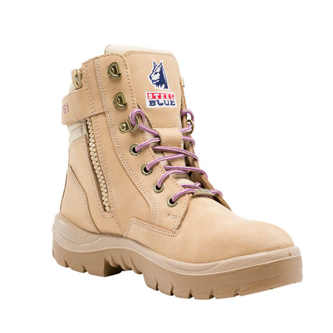 522761 Steel Blue Southern Cross Ladies Zip Sided Lace Up Steel Toe - Safety Boot