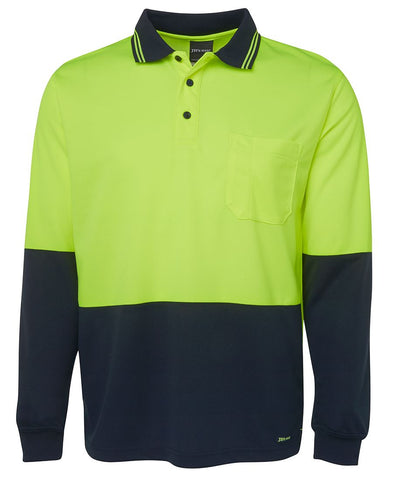 6HVPL JBs Hi Vis Long Sleeve Trade Polo