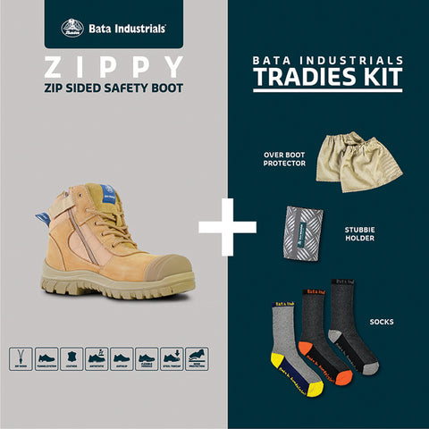 80489841 Bata Zippy TRADIES KIT Zip Sided Lace Up Steel Toe Bump Cap - Safety Boot (Boots + Over Boots + Stubbie Holder + 3 Pairs Socks)