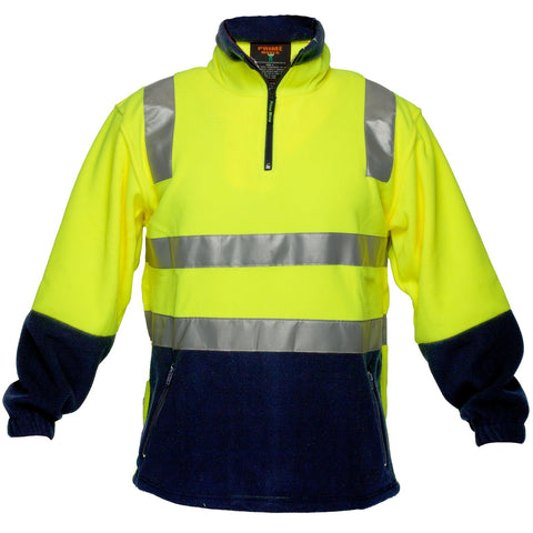 MF215 Prime Mover Polar Fleece Two-Tone Hi Vis Day NIght 14 Zip Jumper (HV215)