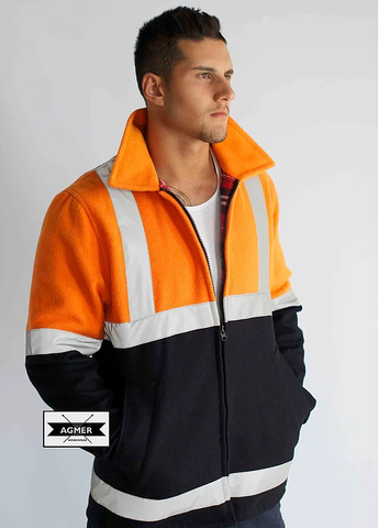 IJZHVRF Agmer 21oz Hi Vis 3/4 Style Bluey Jacket with Tape
