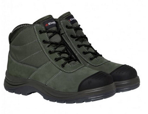 K27110 Tradie Lace Up Zip sided steel cap boot