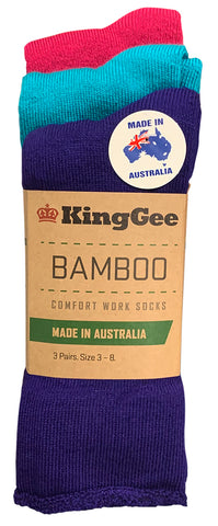K49271 King Gee Womens Bamboo Work Sock (Pack 3 pairs) Purple/Teal/Pink