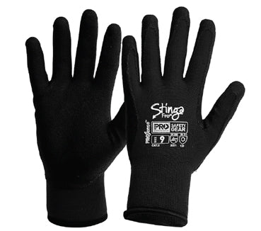 NPFF10 Synthetic Gloves Stinga Frost Black PVC Foam On Nylon Winter Liner