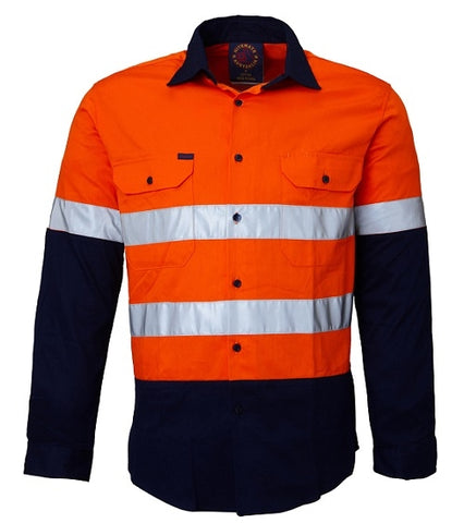 RM4050R Childrens 2 Tone Hi Vis Open Front Long Sleeve Shirt w Tape