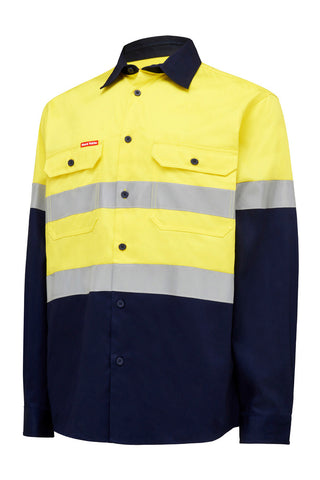 Hard Yakka Core Hi Vis L/S Cotton Drill Shirt with Tape Y04610