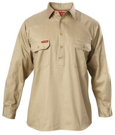 Hard Yakka Closed Front L/S Cotton Drill Shirt Y07530