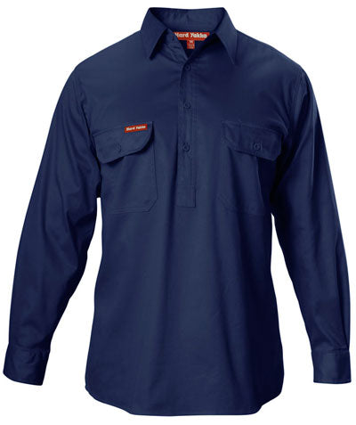 Y07530 Hard Yakka Closed Front Long Sleeve Cotton Drill Shirt