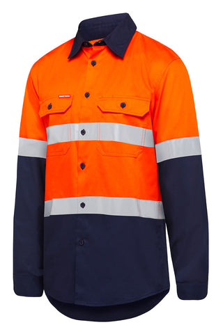 Y07940 Hard Yakka Core Hi Vis Long Sleeve Vented Shirt with tape 145gsm