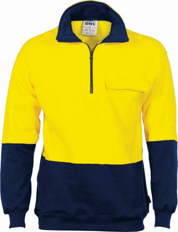 DNC Hi Vis 1/2 Zip Cotton Fleecy Windcheater 3923