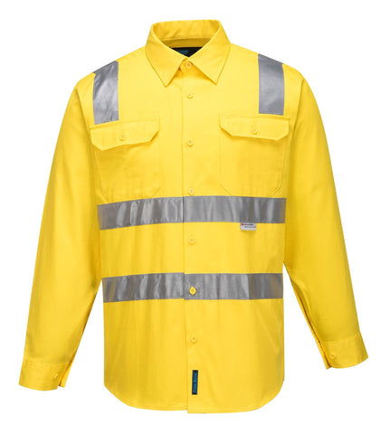 MS191 Prime Mover Long Sleeve Full Hi Vis day night drill shirt (Shoulder Tape) (WWL1901)