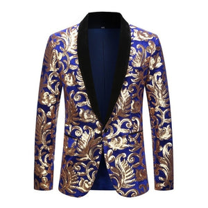 Velvet Gold Flowers Sequins Suit Jacket