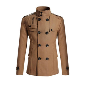 Men Winter Warm Trench Woolen Coat Slim Fit