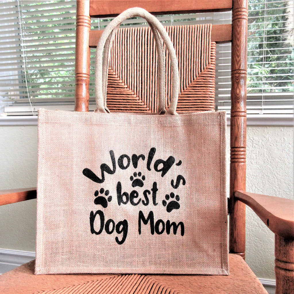 World's best dog Mom Burlap Tote Bag