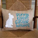 Bunny Kisses Easter Wishes burlap lumbar pillow