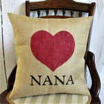 Nana Custom Name Heart Burlap Pillow