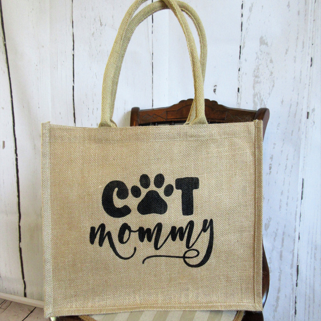 Cat Mommy Burlap Tote Bag
