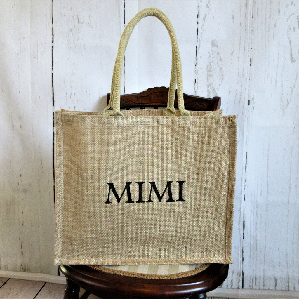 Mimi Personalized Burlap Tote bag