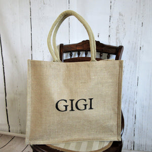 Gigi Burlap Tote Bag Ready to Ship