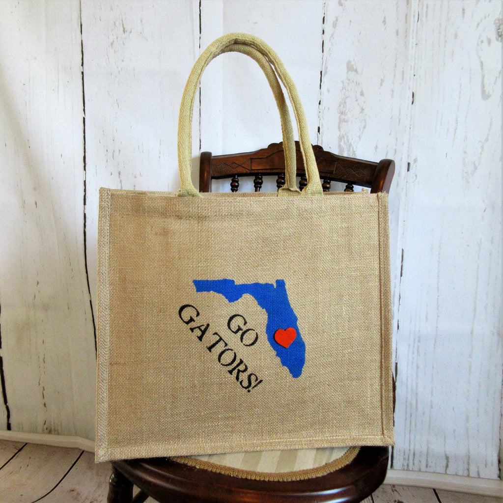 University of Florida Burlap Tote Bag