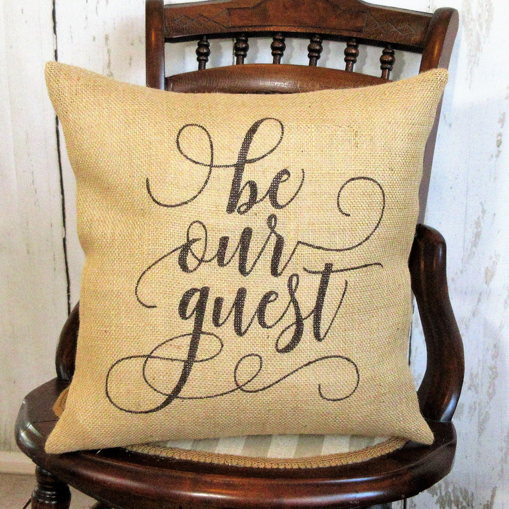 Be our guest brown burlap farmhouse pillow
