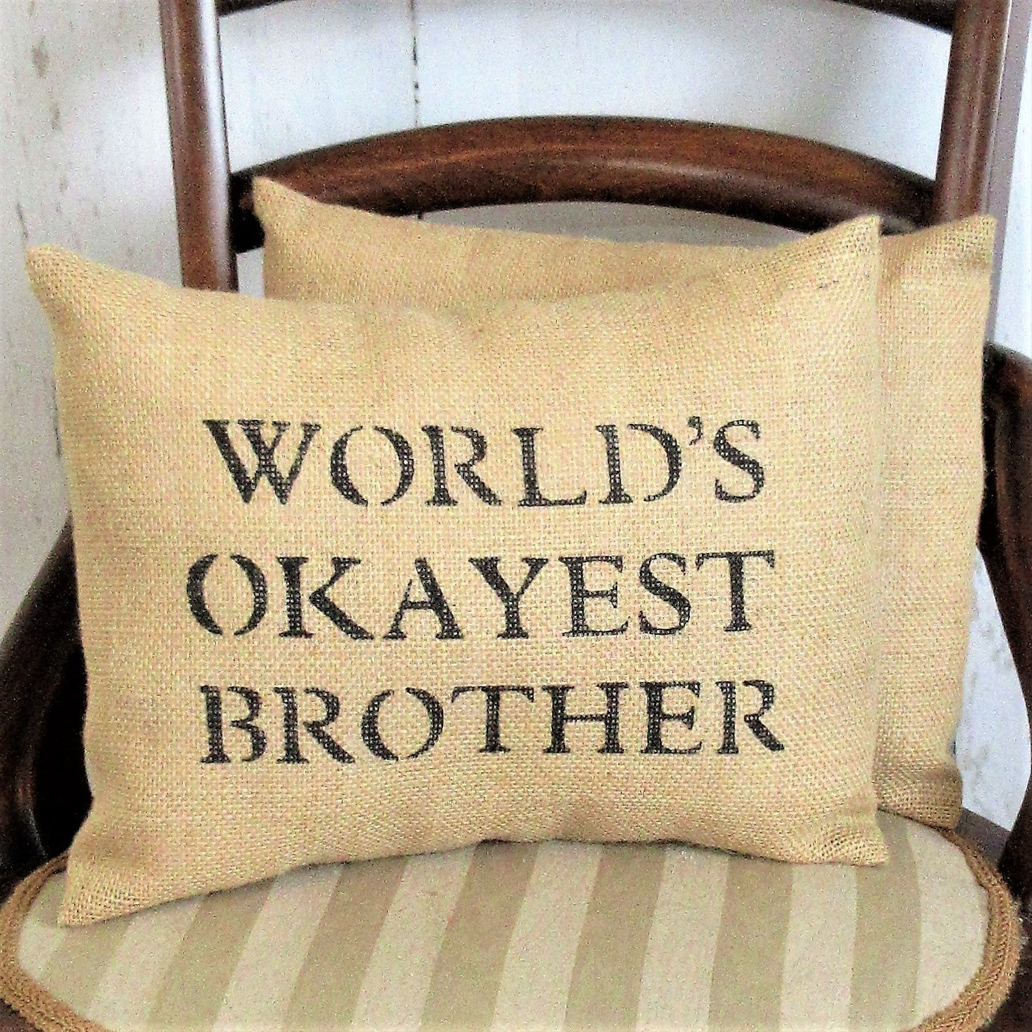 World's Okayest Sister, World's Okayest Brother Burlap pillow